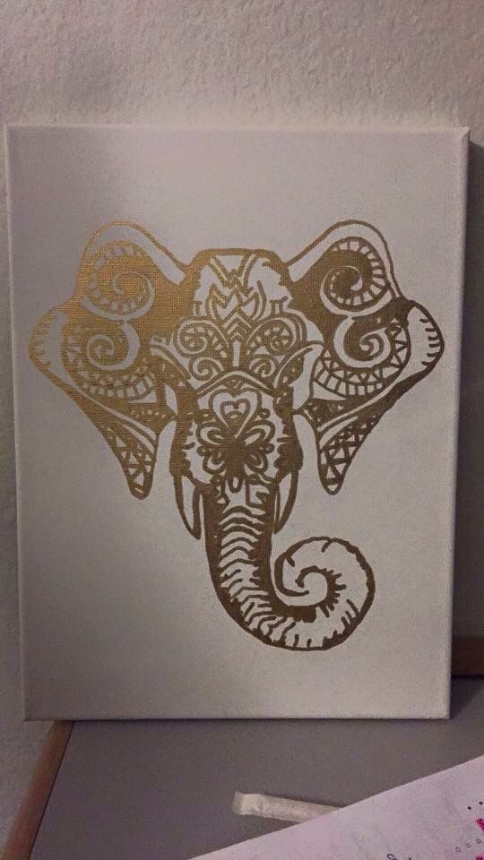 Gold elephant canvas art
