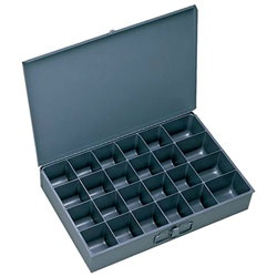 Durham Gray Cold Rolled Steel Individual Large Scoop Box, 18 Width X 3  Height X 12 Depth, 24 Compartment By Durham