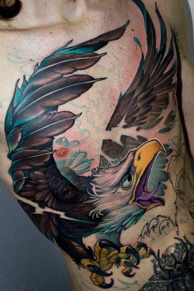 The 13 best new school tattoos eagle designs skull images for Tattoo school listings