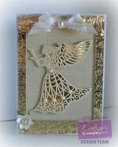 A5 card using the Sara Signature Traditional Christmas collection Guardian Angel die and Festive Tree embossing folder - Designed by Gaynor Greaves #crafterscompanion #Christmas