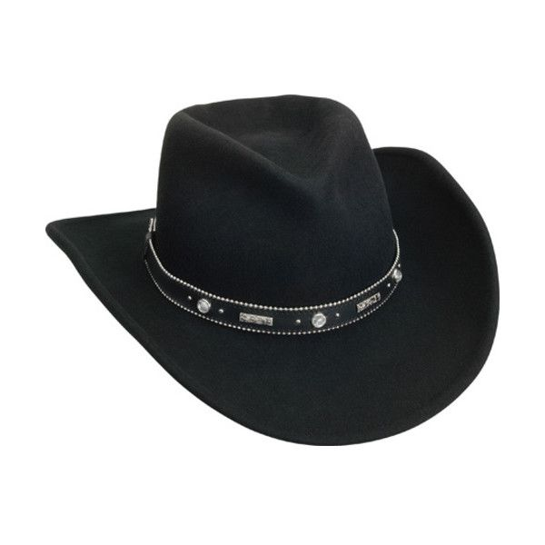 Women's Silverado Odessa (£50) ❤ liked on Polyvore featuring accessories, hats, black, cowboy hats, band hats, crown hat, hat bands cowboy hats, rhinestone hats and rhinestone cowgirl hat