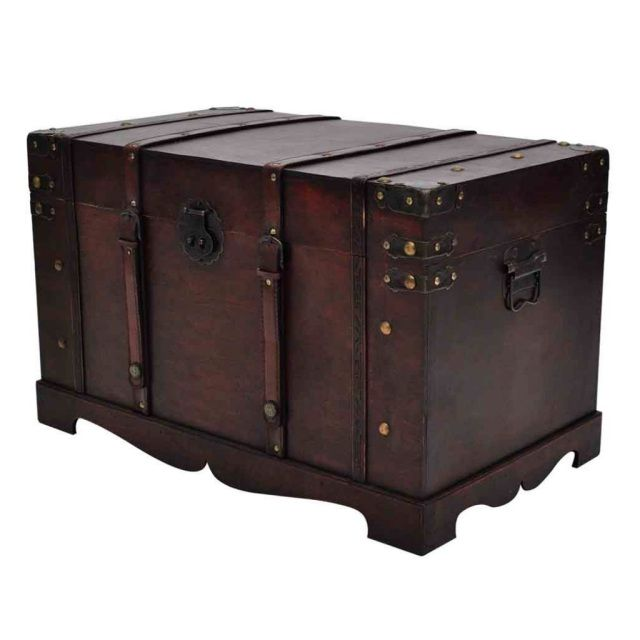 Vintage Wooden Storage Chest Table
