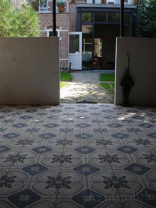 Cementtiles outside - Azule 03 Maroc - Project van Designtegels.nl
