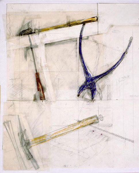Claes Oldenburg, Balancing Tools, Position Study,1983, Pencil, crayon, tape, collage  (55.9 x 49.2 cm) Photo: D. James Dee