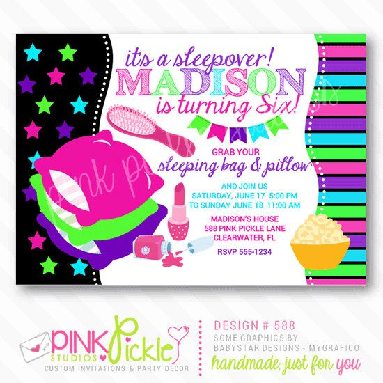 8 best Invites images on Pinterest Pajama party, Birthday party - best of birthday invitations sleepover party