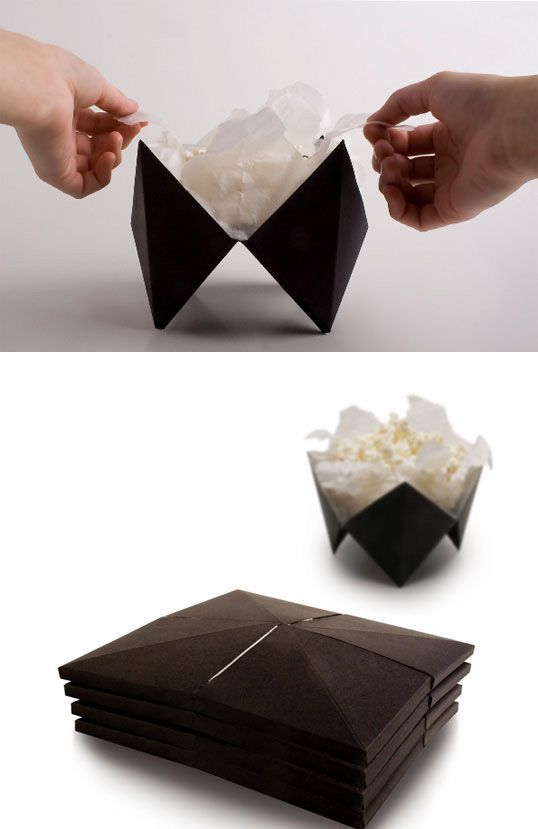 An origami microwave popcorn design that folds out into a bowl. | 31 Mind-Blowing Packaging Designs