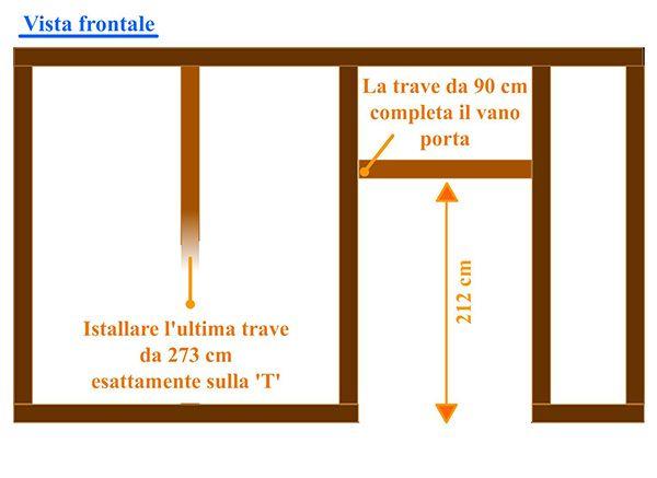 Completamento vano porta e istallazione trave verticale sul segno 'T' tracciato precedemente sulla prima trave del #pavimento