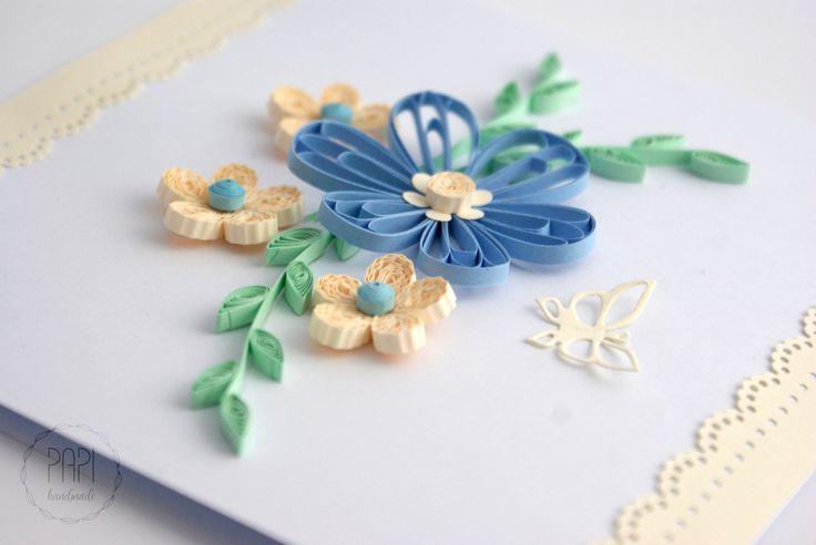 Wiosenna kompozycja kwiatowa   Kartki ręcznie robione, zaproszenia ślubne handmade Poznań