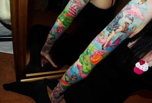 Cool colorful sleeve. #tattoo #tattoos #ink
