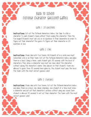 Ice Breaker: Fictional Character Guessing Games from kprice1022 on TeachersNotebook.com -  (2 pages)  - First day of school fictional character guessing games ice breakers