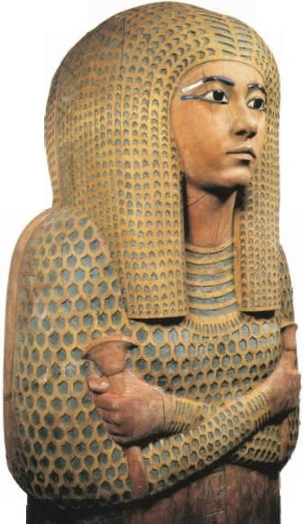 Egyptian Queen Meritamun's cedar coffin from her Deir el-Bahari tomb had been desecrated in antiquity and re-bandaged during the 21st Dynasty; The queen's body shows that although she had died a relatively young woman, she had suffered from both arthritis and scoliosis; 19th dynasty, Valley of the Queens, Egypt
