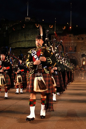 Massed pipes drums for Scottish military tattoo