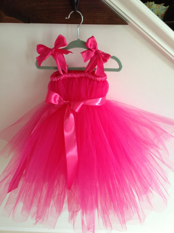 Hot pink flower girl dress 5T 7 by HadandHarps on Etsy, $60.00