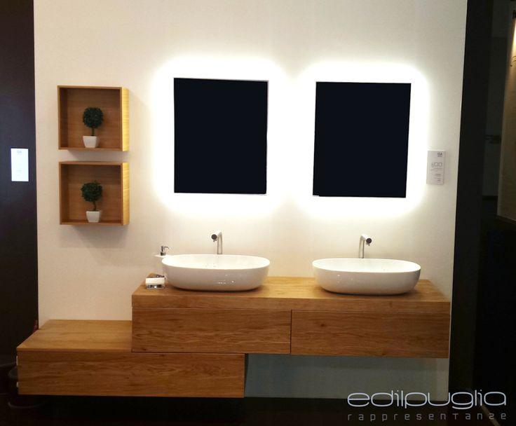 Mobile da bagno componibile con cassetti Composizione doppio lavabo in ceramica - linea Materia - Rivestimento in rovere.  @ Salone del Mobile - Milano 2016  Isa Bagno