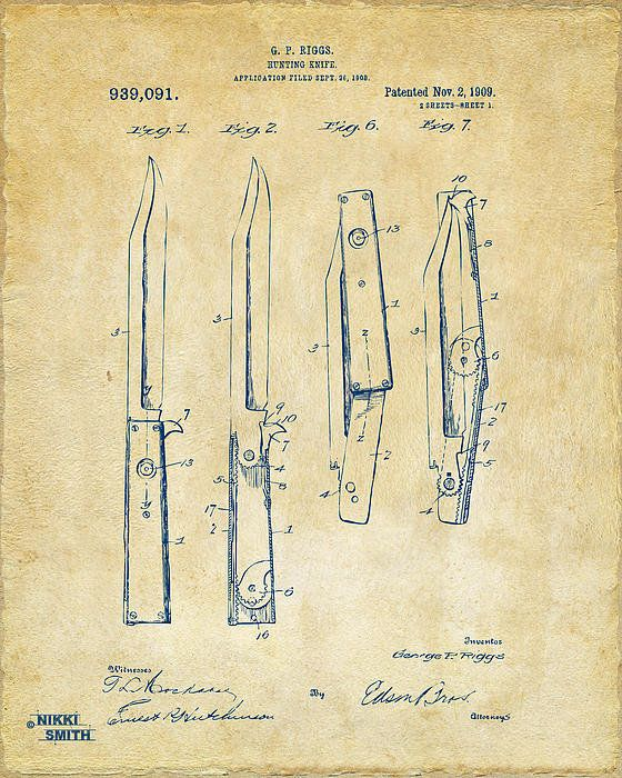 1901 Hunting Knife Patent Artwork - Vintage Poster By Nikki Marie Smith