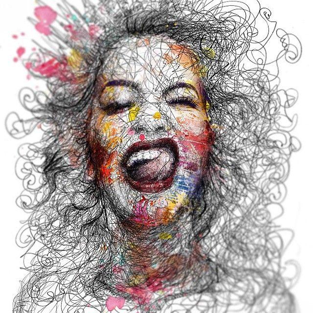 Scribble Drawing Uk : Sketch done colorful ritaora color girl cute