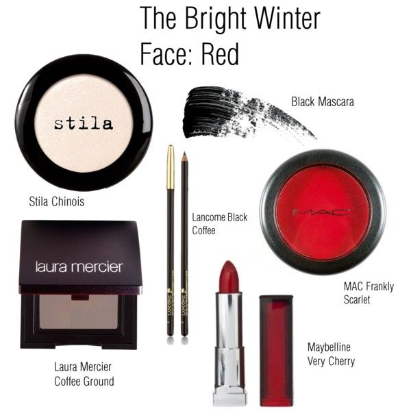 The Bright Winter Face: Red by catelinden on Polyvore featuring beauty, Laura Mercier, Stila, Hourglass Cosmetics, Lancôme, Maybelline and modern
