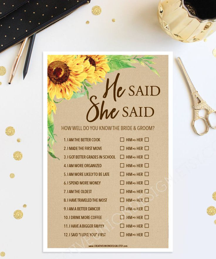 how early should you send out wedding shower invitations%0A He Said She Said Bridal Shower Game  Sunflower Bridal Shower Game  Wedding  Shower