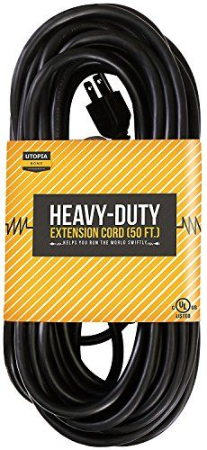 50 ft 16/3 Outdoor Extension Cord - SJTW Heavy Duty 3 Prong Extension Cable - Single Outlet, 16 Gauge, UL Listed - By Utopia Home #Outdoor #Extension #Cord #SJTW #Heavy #Duty #Prong #Cable #Single #Outlet, #Gauge, #Listed #Utopia #Home