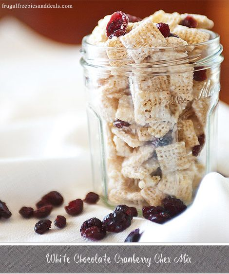 White Chocolate Cranberry Chex Mix  http://www.frugalfreebiesanddeals.com/white-chocolate-cranberry-chex-mix/
