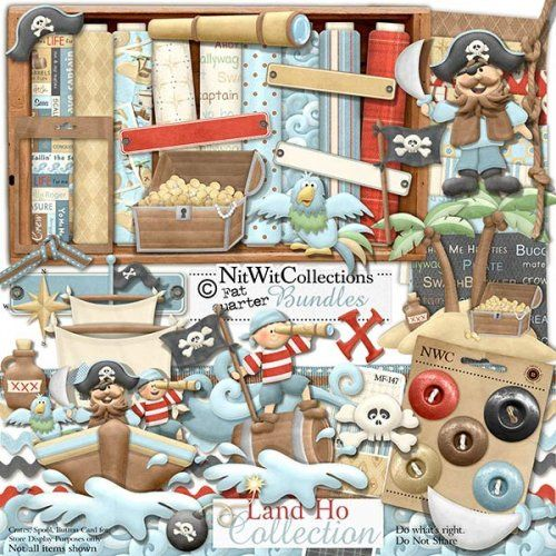 Digital scrapbooking pirate and card making pirate kit.  Sail the seven seas in your very own treasure ship! FQB - Land Ho Collection
