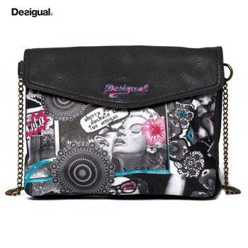 Desigual 2014 fashion print letter vintage women's handbag color block the trend women messenger bag Cheap Desigual outlet sale