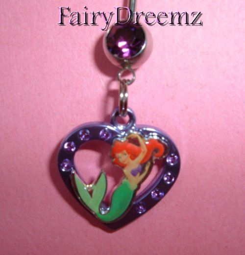 Ariel Little Mermaid HEART Princess Disney Belly Navel Ring Jewelry