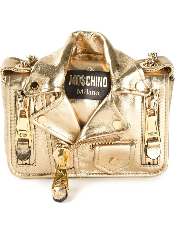 Moschino Gold Biker Quilted Jacket Shoulder Chain Bag