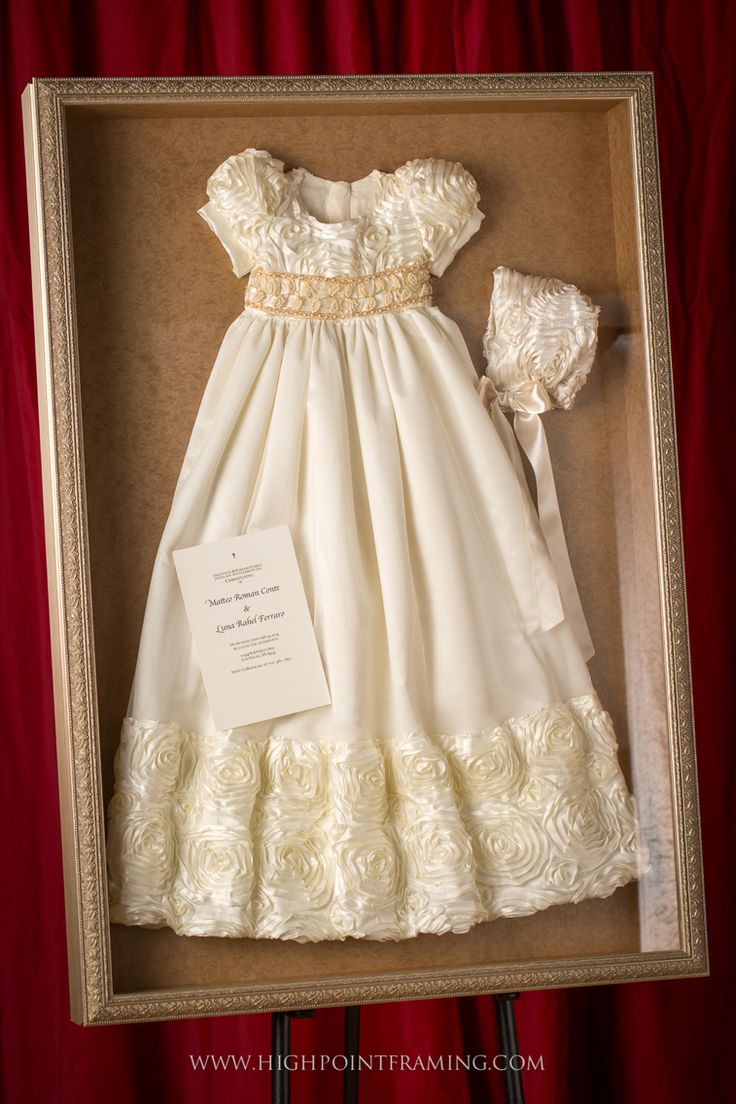 Christening gown and bonnet framed
