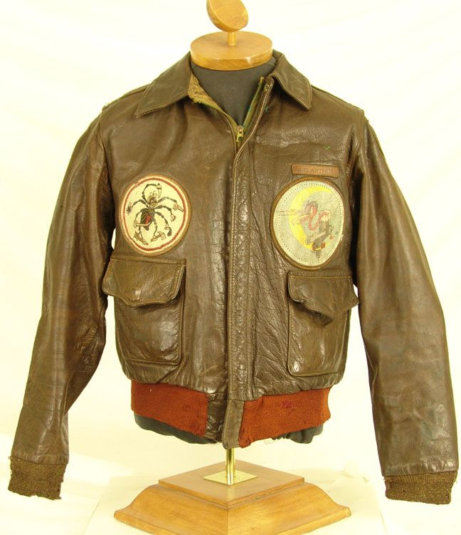 WW2 Black Widow A2 Flight Jacket Officers Grouping -