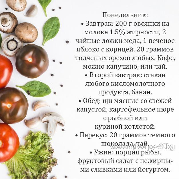 Правильное питание для похудения простое меню