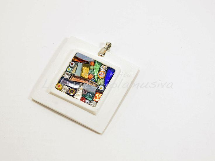 ciondolo ceramica mosaico multicolor