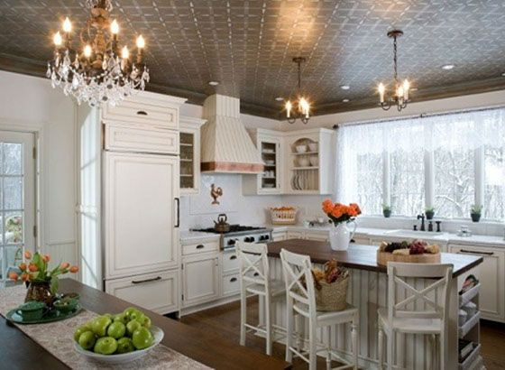 Nice ceiling detail and light fixtures in this kitchen design.  #kitchens  #kitchendesigns homechanneltv.com