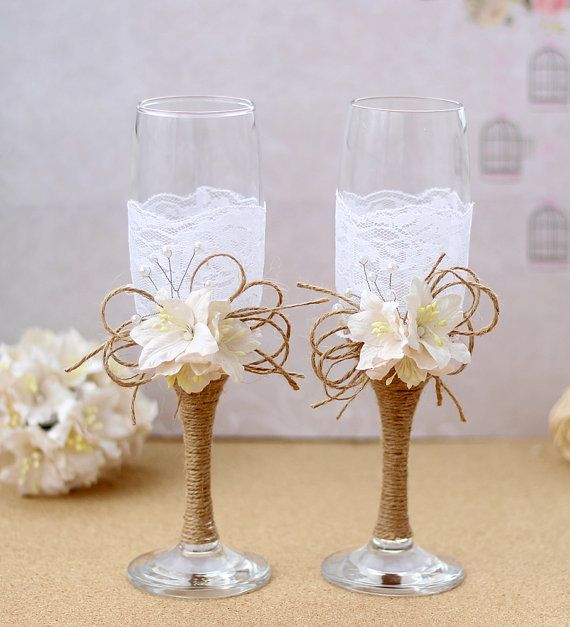 Rustic Wedding Glasses Mr and Mrs Toasting Flutes by AniArts