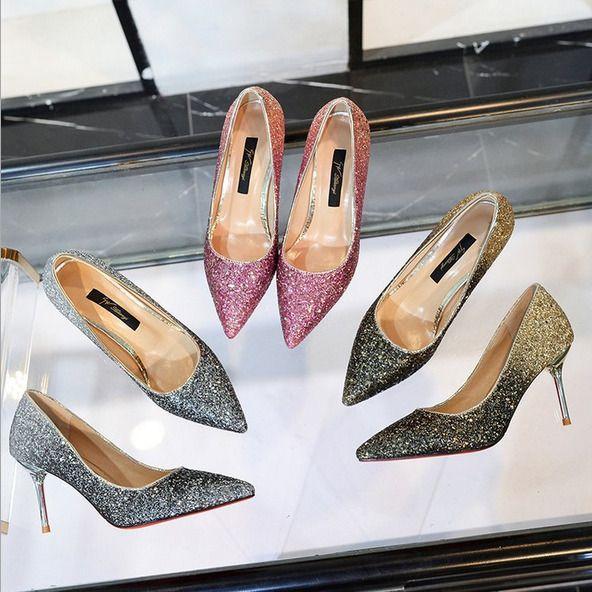 New Ladies Glitter Ombre Low Kitten Heel Pointed Court Shoes Size 3 8 Kitten Heels From Ebay Uk Kittenheels Heels 1 Heels Kitten Heels Kitten Heel Pumps