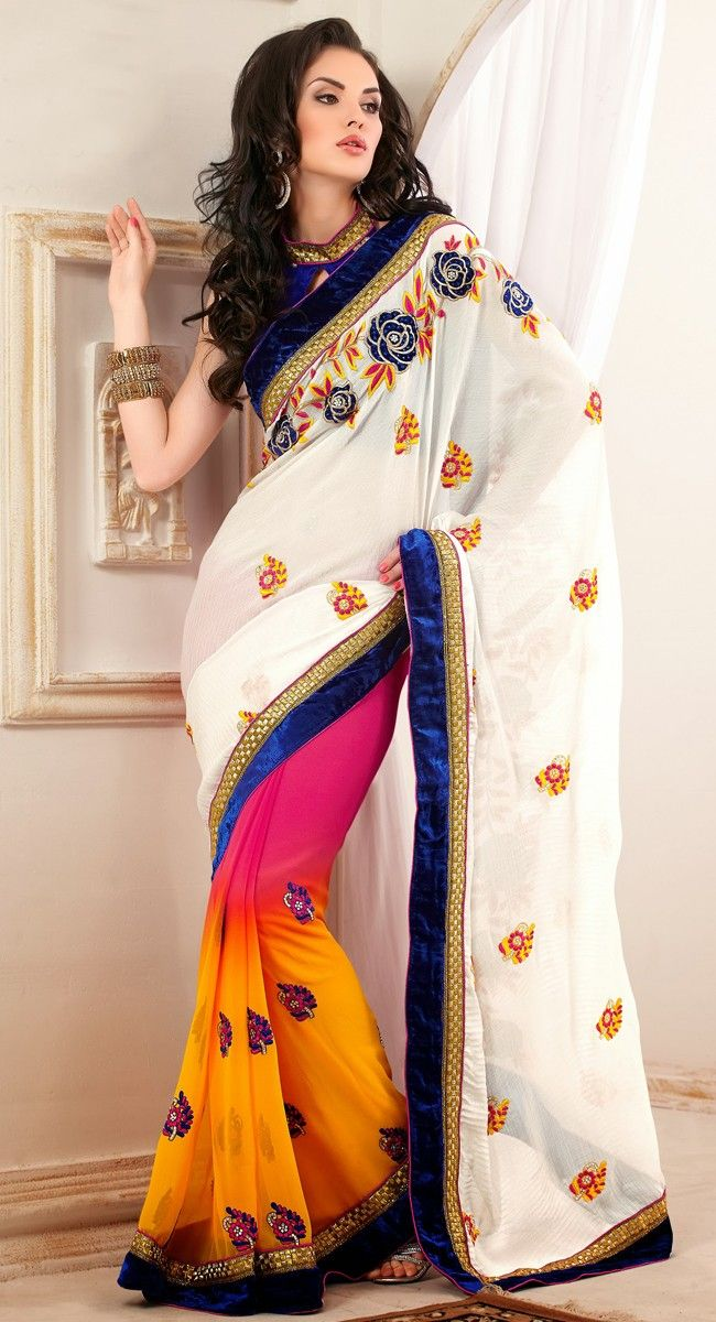 I like how this goes from bright colors to mostly white, very nice #saree