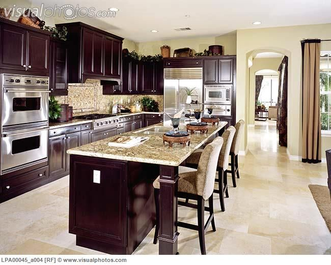 Dark Cabinets Kitchen | Contemporary Kitchen With Dark Wood Cabinets  [LPA00045_a004] U003e Stock .