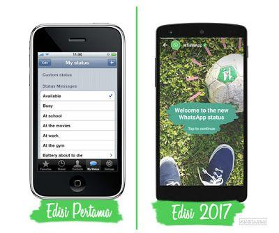 Brand new post: Tampilan UI Whatsapp Edisi Pertama dan Sekarang (2017)  Tampilan UI Whatsapp Edisi Pertama dan Sekarang (2017) - Whatsapp. Siapa yang tidak mengenal aplikasi percakapan paling populer yang dapat diunduh di Play Store (Android) dan App Store (iOS) ini? Tampilan dari fitur terbaru dari aplikasi chatting besutan X persis dengan Snapchat atau bagi yang kerap menggunakan stories di Instagram - ya mirip dengan Story-nya Instagram. Di dalam website resminya pendiri Whatsapp; Jon…