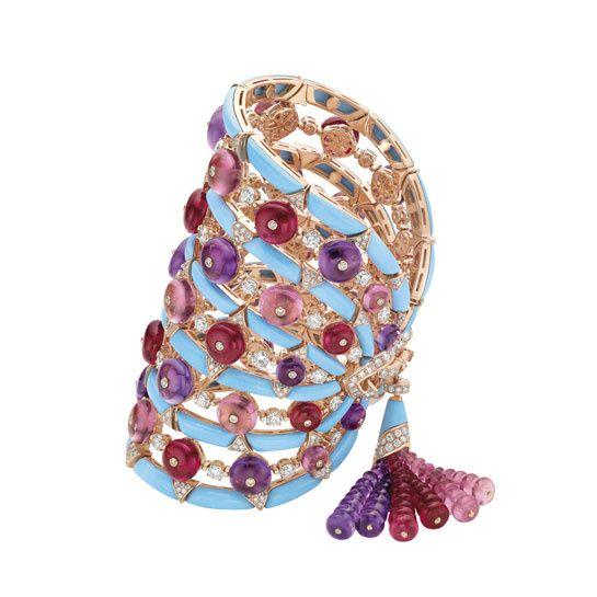 Bulgari/www.vogue.fr/joaillerie de-la-xxvieme-biennale-des-antiquaires: Diamonds Bracelets, Jewelry Bracelets, Bvlgari Turquoi, Pink Gold, Jewelry Collection, Bling Divas, Bulgari Bracelets, Accessories, High Jewelry
