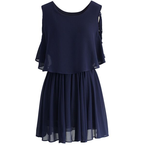 Chicwish Ethereal Cold Shoulder Skater Dress in Navy ($51) found on Polyvore featuring dresses, vestidos, blue, cocktail dresses, holiday dresses, evening dresses, blue summer dress and navy cocktail dress