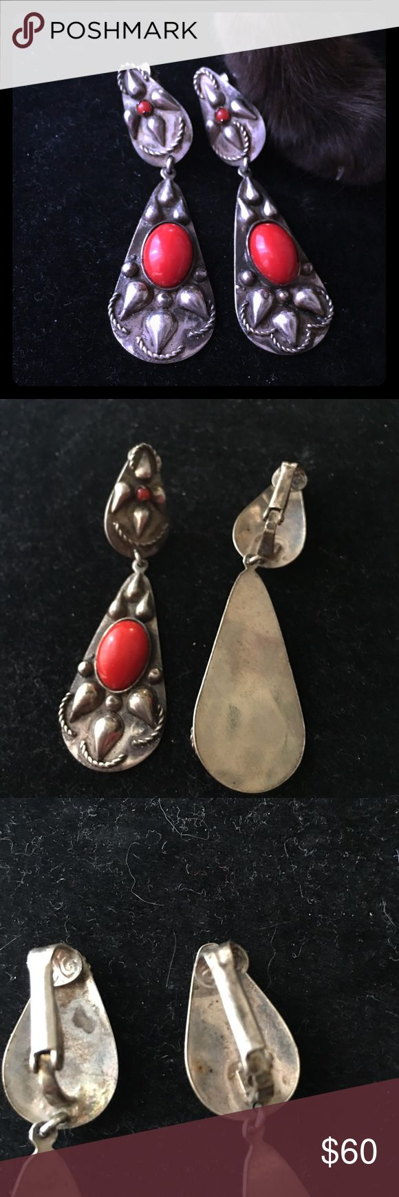 VINTAGE DEAD PAWN CORAL AND SILVER EARRINGS These are Dead Pawn coral and silver earrings - they are clip on - I left the patina most of it on - but they can be cleaned and they are the beautiful white silver vintage Dead Pawn  Jewelry Earrings