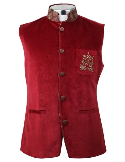Bennevis red velvet wedding wear men waistcoat | G3-MWC0149