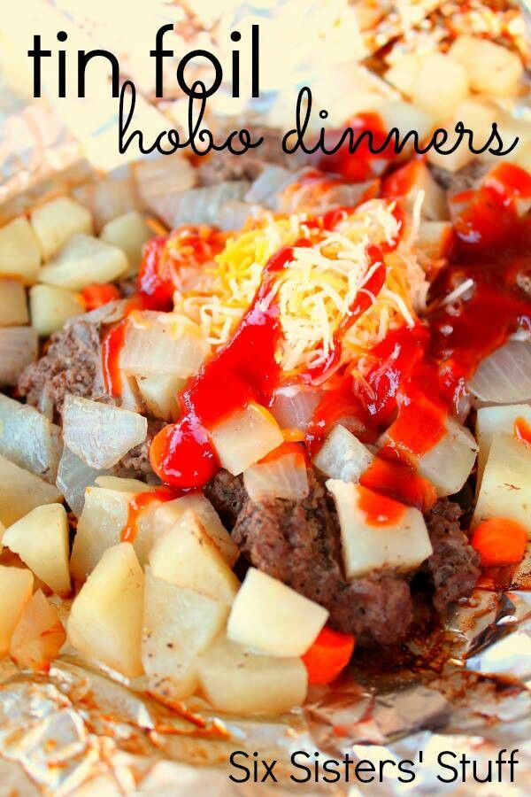 Hobo dinners, ground beef, potatoes, onions bell peppers, ketchup, salt and pepper.