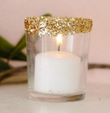 diy glitter votive. Could do this with my leftover candle holders