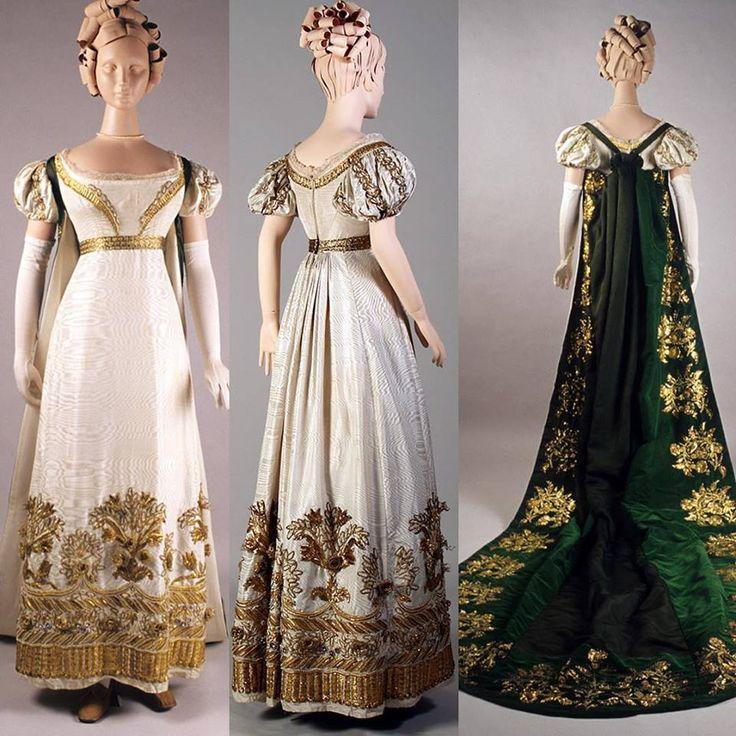 Vestido y tren, Inglaterra, CA. 1810-1825 Museo de la universidad estatal de Kent
