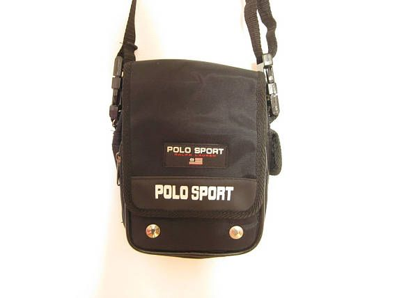 90s Black Polo Sport Ralph Lauren Small Mini Miniature Nylon Shoulder Bag Cross Body Travel Hipster Purse Gift For Friend Vintage Bags