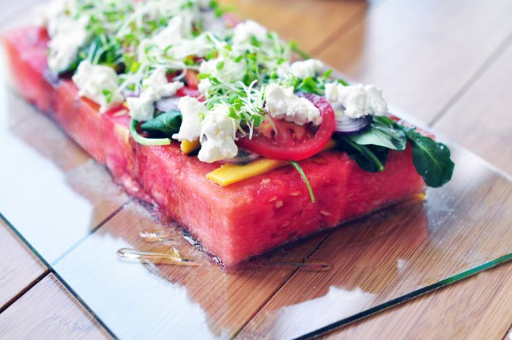 watermelon, goat cheese, tomato, balsamic salad: Recipes Ideas, Watermelon Salad, Olives Oil, Red Onions, Planks Salad, Watermelon Tomatoes Salad, Summer Salad, Watermelon Recipes, Goats Cheese