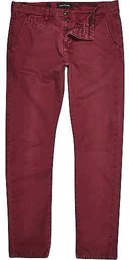 $30, Burgundy Chinos: River Island Dark Red Slim Chinos. Sold by River Island. Click for more info: https://lookastic.com/men/shop_items/148025/redirect