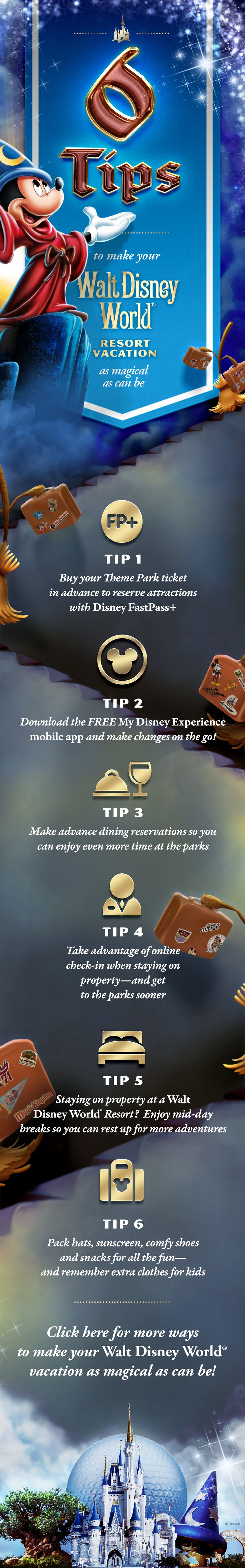 6 Tips to make your Walt Disney World Resort Vacation Magical! #MickeyMouse #Vacation #Tips #Tricks