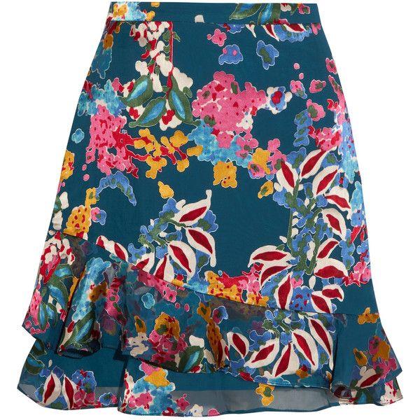 Saloni Cece floral-print fil coupé chiffon mini skirt found on Polyvore featuring skirts, mini skirts, saloni, blue floral skirt, blue mini skirt, short mini skirts, ruffle hem skirt and vintage skirts
